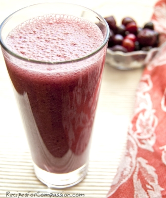 Cherry Smoothie by recipes for compassion blog