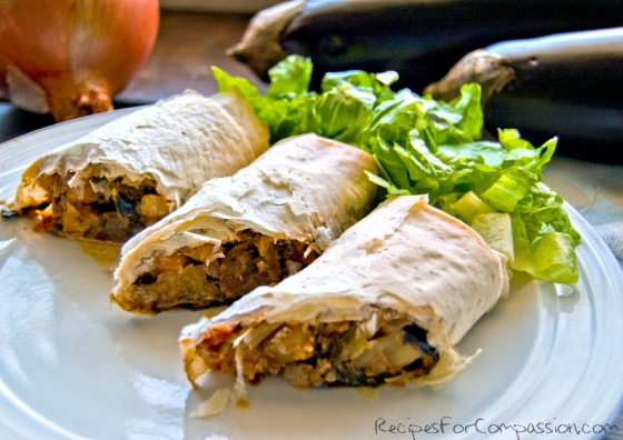 Moussake Filo Rolls by Recipes for Compassion blog