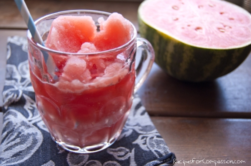 Watermelon Slushie by Recipes for Compassion blog