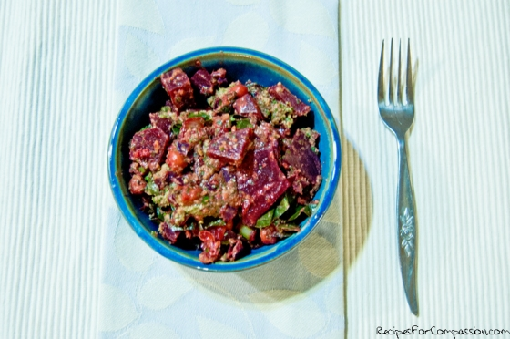 Beet Pesto Salad by Recipes for Compassion blog