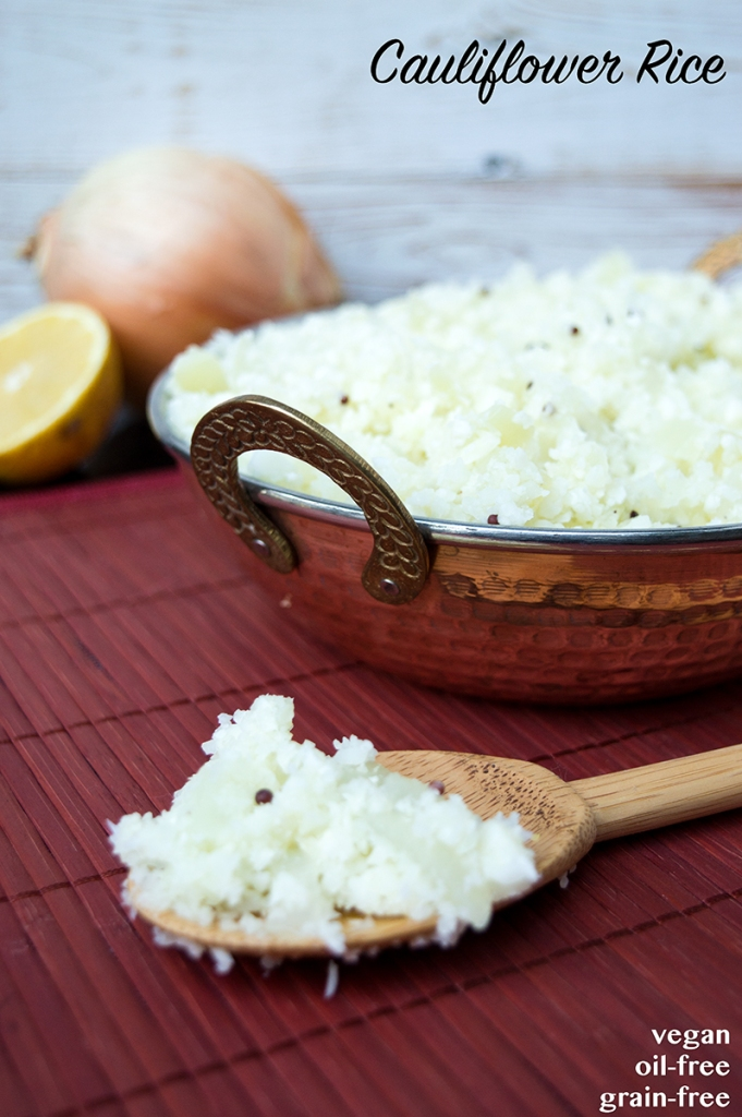 cauliflower rice, cauliflower rice recipe, how to make cauliflower rice, low-carb recipes, minimalist baker rice, oh she glows rice, vegan cauliflower rice, vegan cauliflower rice recipe, vegan richa rice, whole foods plant based recipes, oil-free cauliflower rice