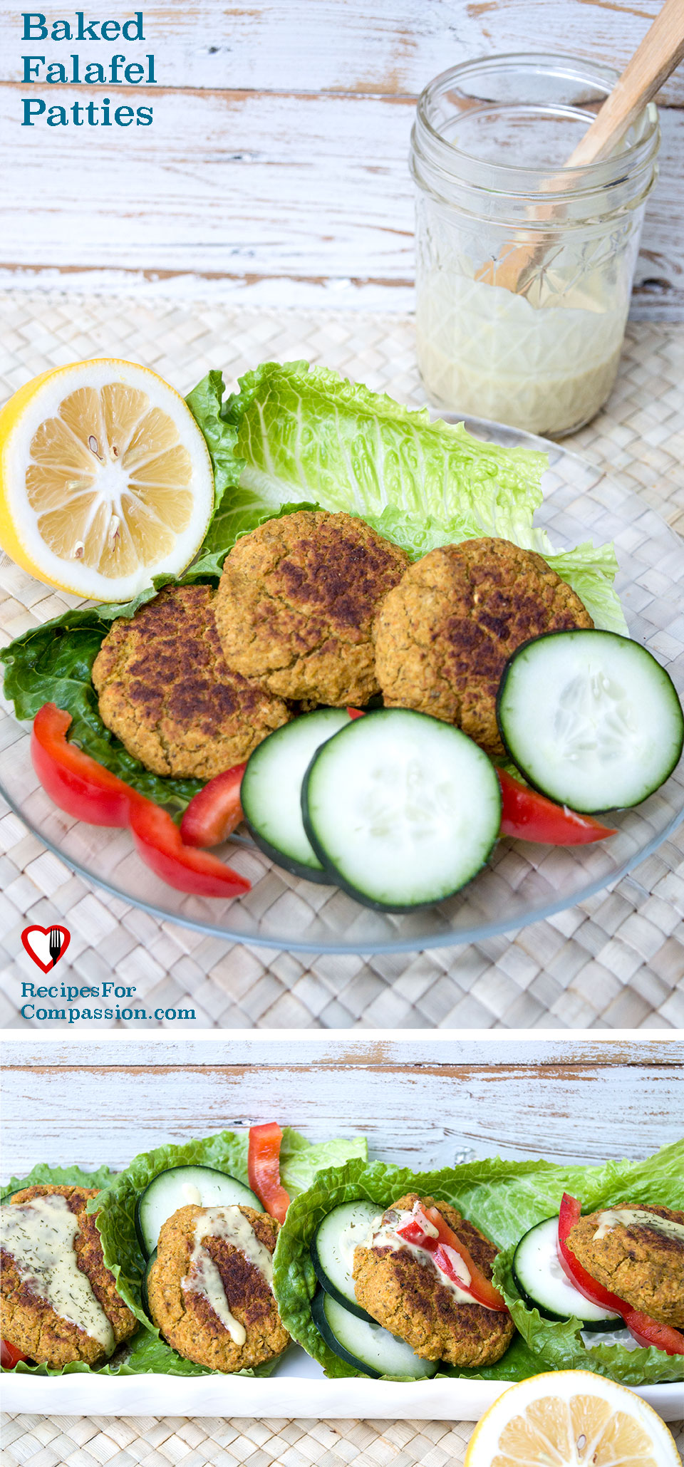 Baked Falafel Patties, baked falafel recipe, cashew tzatziki dressing, healthy falafels, lettuce wraps, minimalist baker falafel, oh she glows falafel, vegan chickpea recipe, vegan falafel dressing, vegan richa falafel, vegan tzatziki dressing, vegan tzatziki dressing recipe